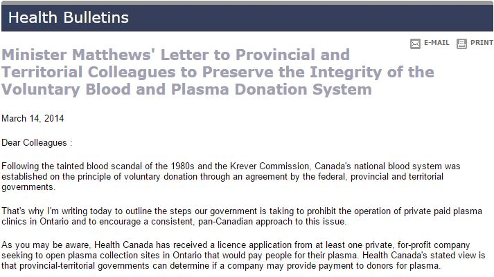 Minister Matthews' Letter to Provincial and Territorial